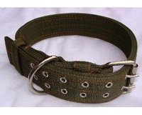 Wholesale Pet supplies olive canvas dog collar collar large dog collar