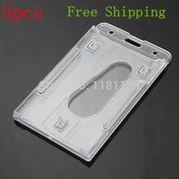 Wholesale 2014 New High Quality Vertical Hard Plastic Badge Holder Double Card ID Transparent x6cm