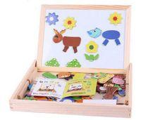 achat en gros de écrire tableaux aimantés enfants--Children Chalk Multifonction Enfants Puzzle Puzzle Bois Magnétique Tableau Dessin Blackboard Fantastic Chevalet Livraison gratuite