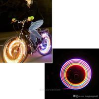 al por mayor colorful bicycle-2pcs / 1 par bicicleta de la bici neumático del coche de neón de la rueda de la válvula habló la luciérnaga luz de la lámpara LED 5 LED lámpara de luz de colores HM318-20 A3 *