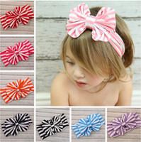knit headband - New style stripe cotton top knot children baby head wrap bow jersey knit headwraps cute big bow headband