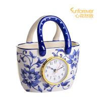 antique porcelain clock - High quality ceramic flower basket cabarets clock bedside alarm clock blue and white porcelain vase decoration clock