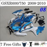 Wholesale 7 Gifts Light Blue Motorcycle Fairings For Suzuki GSXR GSXR600 GSXR750 ABS Plastic Cowling Set