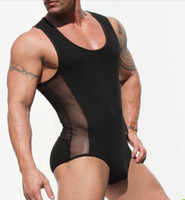 Wholesale Sexes Sexy Mens - Brand Mens Sexy Underwear teddies Men bodysuit body stocking sex Man jumpsuit wresting Undershirts shapper gay clothing exotic club jumpsuit