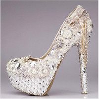 custom shoes - 2015 Crystal Wedding Shoes Custom Made Size High Heel Bridal Shoes Party Prom Women Shoes