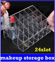 Wholesale 24 Trapezoid Clear Makeup Cosmetic Organizer Storage Lipstick Holder Case Stand new top sale