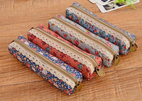 Cheap Fashion Mini Retro Flower Floral Lace Pencil Shape Pen Case Cosmetic Makeup Make Up Bag Zipper Pouch Purse