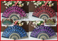 Wholesale 50pcs Embroidery Peacock design fabric Fan with or without Sequins Polyester Fabric Fan Black plastic Frames Fan