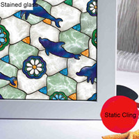Wholesale New Arrival Flowers DolphinStastic Cling Stained Glass Window Film Decal for Baby Kids Room Window Door Decoration DIY Home Deocration Decal