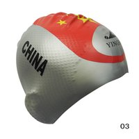 Wholesale New Fashion China Flag Adults Swimming Caps Sport waterproof Ear protected Silicone Particle non skid Large space swimming cap