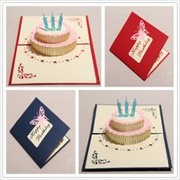 Wholesale 2015 Stereo Invitation Card The Creative Handmade Kirigami Origami D Pop UP Greeting Cards For Gift Birthday Cake Greeting Cards