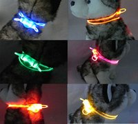 dog collars and leashes - LED Flashing Dogs Harness New Good quality Adjustable Neck belt Pet Harness Dog Collar and Leash with Battery