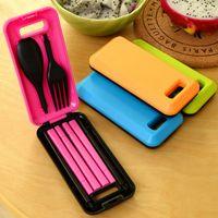 Wholesale Separable Travel Portable Folding Spoon Fork Chopsticks Plastic Cutlery Set Tableware Dinnerware Set