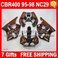 Wholesale 7gifts For HONDA NC29 CBR400RR Orange flames CBR RR Q86 CBR400 RR CBR RR Orange blk Fairing