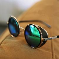 Wholesale Tops Fashion Vintage Round Sun Glasses Steampunk Retro Sunglasses Steampunk Metal Coating Cool Men Retro Circle Sunglasses Women