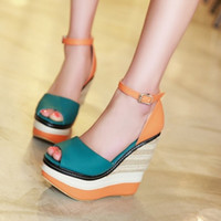 Cheap 2015 New Arrivals Fashion Wedges High Heels Platform Sandals Dress Shoes For Women Sexy Casual Open Toe Summer Sandals