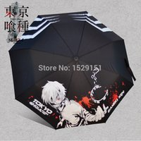 best patio umbrellas - New Tokyo Ghoul TG Kaneki Ken KK Anime Cute Print Umbrella Three Folding Tiny Light Toles Whole Lyrics Best Patio Women Men