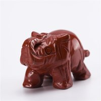 Crystal elephant figurines - 1 inch Red Jasper Elephant stones carved Crafts Figurine healing reiki free pouch