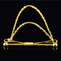 acting real - Real gold plated tie rods with chain Men brooch neckties gentleman act the role ofing is tasted