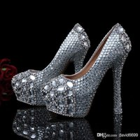 tenis - 2015 Hot new fashion Zapatos Mujer Real Tenis Feminino Women Pumps white Bridal Wedding Shoes crystal diamond Ultra High Heels plus size