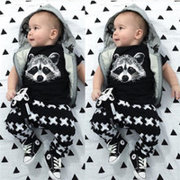 animals with two heads - Kids Clothes Virgin Suit Baby Baby Fox Head Suit Children Suit With Short Sleeves The Fox Head Suit Children Suit two piece Black T shirt