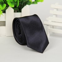 Wholesale New Men s Polyester silk ties Slolid color Satin Plain Neckties Party Wedding ties for men colors Sufficient stock skinny ties cm width