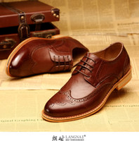 Wholesale Lang bullock leather shoesNew brock carve patterns or designs on woodwork men s shoes in the summer of British wind restoring ancient w