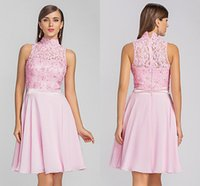 Ball Gown beaded georgette - 2015 A line High Neck Knee lenght Chiffon And Lace Cocktail Prom Dresses With Beading Georgette Dresses Special Occasion Prom Party gowns