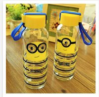 Wholesale 300ml Fashion Small yellow cartoon man glasses water bottle portable Despicable Me glass transparent glass bottle my bottle R922