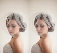 Wholesale New Designer Popular Birdcage Veils Face Short White Wedding Veils Cheap Simple Elaborate Netting Bridal Veils with Ruffles Blusher Veils