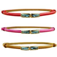 Wholesale New Fashion Women Thin Belts Square Diamond Inlay Strip Woman Belt Wild Fashion Decorative Belts