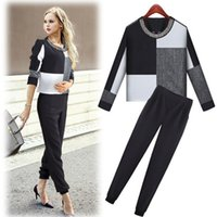 Cheap Hot Sale New 2015 Pencil Pants Black And Plaid Tops Business Suits Formal Office Suits Work Wear Women Clothing Sets
