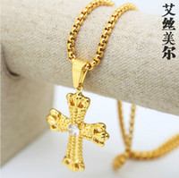 Wholesale 18K Gold plated AAA CZ diamond cross pendant Necklace High Quality Hiphop cuban Chain men jewelry Christian necklace bijouterie