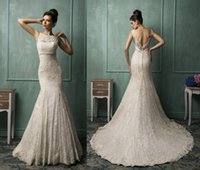bianca dress - Mermaid Wedding Dresses Jewel Neck Ivory Bianca Bridal Gowns Amelia Sposa Sleeveless Crystal Beading Belt Lace Applique Backless