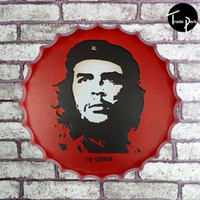 Wholesale 40cm Round CHE GUEVARA LEAD TO FREEDOM in RED beer Sign Metal Art Poster