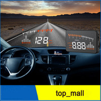 Wholesale X5 Universal Car HUD Alarm System Head Up Display KM h MPH Speeding Fuel Warning Windshield Project Car Detector OBD Interface