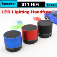 Wholesale DHL S11 LED Bluetooth Speaker Mini Wireless Portable Speakers Music Player Home Audio for iphone iphone Mp3 Player