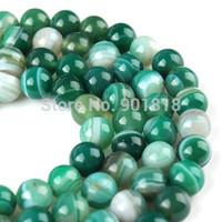 Los granos flojos de envío gratuito raya verde natural Onyx Ágata Ronda Strand 40cm 4 6 8 10 12 14 16 mm Para resultados de la joyería F1485