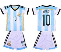 Wholesale 2014 MESSI Argentina soccer football jersey kits for kids children youth soccer uniforms