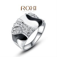Cluster Rings Romantic Women's ROXI Brand White And Black Retro Trendy Rings Forever Love Ring For Womens Wedding Party Engagement CZ Rings 2010248410