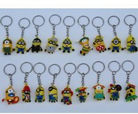 Wholesale 3 cm Minions Keychains sets Movie Despicable Me Cartoon Minion toys Key Chain rings Christmas Promotion Gifts for kids women