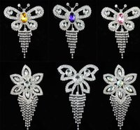 Wholesale Fashion Sparkling Diamante Rhinestone Crystal Flower Butterfly Brooch Pin order lt no tracking
