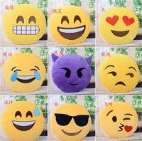 Wholesale Cushion Cute Lovely Emoji Smiley Pillows Cartoon Cushion QQ Expression Cushion Pillows Yellow Round Pillow Stuffed Plush Toy CM