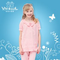 Wholesale New Arrival Girl Pajamas Set Sweet Flouncing Plaid Cotton Children Home Wear Kids Clothes Three Colors