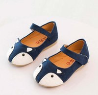 baby flats - 2015 Autumn Baby Girls Fox Shoes PU Leather Children Kids Girl Slip on Party Dance For Dress Magic Tape Flats Blue Fuchsia Orange K4870