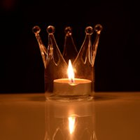 Wholesale Beautiful Design Transparent Crown Shape Glass Candle Holder Wedding Home With One Candle