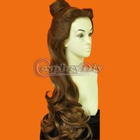 belle wig adult - New Beauty and the Beast Princess Belle Wigs Synthetic Long Curly Brown Cartoon Cosplay Wig Adult Women