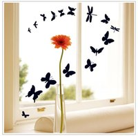 american window factory - Factory Price black Butterfly window sticker Bedroom Wall Decal Living room Decor Quotes Vinyl Wall Stickers
