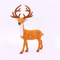 Noël figurines gros France-Figurine d'animal de la vente en gros Figurine d'animaux de cerf 2Pcs Set Marron Couleur Deer Décoration de Noël Noël Arbre Compteurs Marché Disponible
