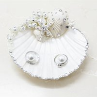 Wholesale New Handmade ring pillow wedding ring care Creative Starfish shell pearl diamond ring Pillow for Wedding Ceremony Party Stuff Accessories